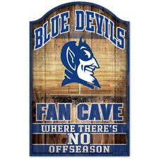 "DUKE BLUE DEVILS FAN CAVE THERE'S NO OFF SEASON WOOD SIGN 11""X17'' WINCRAFT 👀🏀"