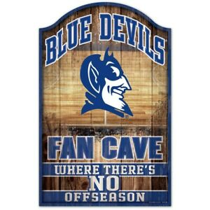 """DUKE BLUE DEVILS FAN CAVE THERE'S NO OFF SEASON WOOD SIGN 11""""X17'' WINCRAFT 👀🏀"""