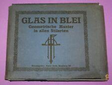 extrem seltene Mappe um 1910 mit Entwürfen von Franz Huth für Bleiglas Fenster