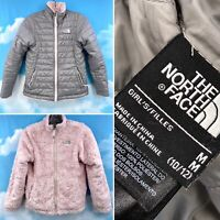 The North Face Moss Bud Reversible Jacket Grey & Pink Girl's Size Medium 10/12