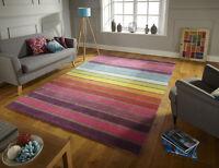 Modern Stripe 100% Wool Hand Tufted Rug, Multi, in Variations Sizes Carpet