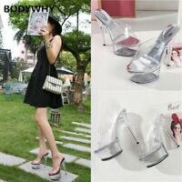 Ultra High Crystal Jelly Heels Clear Sandals Platform Stiletto Shoes Plus