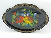 """Vintage Black Floral Toleware Design Tray Hand Painted With Flowers 12.5"""" Long"""