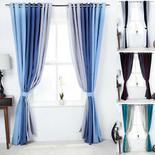 3 Tone Colour Eyelet Curtains Fully Lined Ready Made Ring Top Matching Cushions