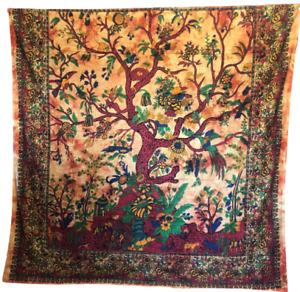 Lebensbaum Mandala Gelb Orange Indisch Tagesdecke Wandbehang Yoga Tuch 210X230cm