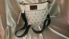 Juicey Coutoir Across Body Lrg Purse White Leather n' Rhinestone Studs Excl Cond