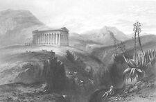 Sicily GREEK TEMPLE OF SEGESTA RUINS ~ Old 1842 Architecture Art Print RARE!