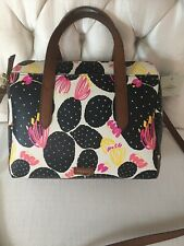 Fossil Hailey Satchel Dark Floral Handbag Retail