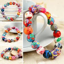 LC_ coloré ARGILE POLYMÈRE PERLE RONDE FILLES FEMMES bracelet bijoux