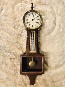 RARE Antique USA Ingraham Striking wall Banjo Clock,Walnut Case & Pendulum