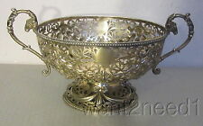 George Fox 1870 London STERLING SILVER PIERCED BASKET BOWL handled dish 326g