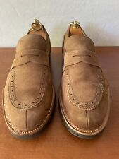 Pre Owned Salvatore Ferragamo Brown Suede Penny Loafer Brogue Detail 9.5EE