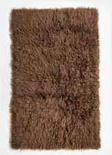 FLOKATI NATURAL WOOL COCOA BROWN HANDKNOTTED SHAGGY FLOOR RUG 110x170cm **NEW**