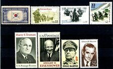 Korean War Famous People Scenes Flag Set 8 Different MNH US Postage Stamps