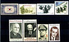Korean War Famous People Scenes Flag Set 8 Different MNH US Postage Stamps