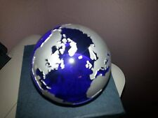 """Handpainted Cobalt Blue 3"""" Globe Paper Weight by Badash Crystal NIB Father's Day"""