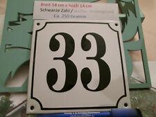 Hausnummer Emaille Nr. 33  schwarze Zahl auf weißem Hintergrund 14 cm x 14 cm
