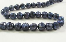 7-8 mm Faceted Potato Freshwater Pearls Dark Green, Silver Gray OR Purple (#400)