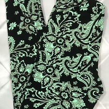 NWT Paisley Buttery Soft Leggings Pants 2-10 Black Mint Green OS S M L One Size