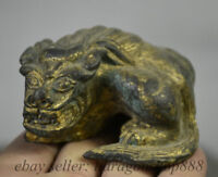 Chinois antique en bronze or Feng Shui Foo Fu chien Lion Bête Sculpture