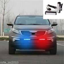 Car Front Grille Red and Blue Warning Emergency Beacon Strobe Flashing LED Light