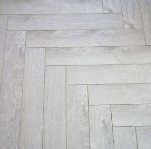 Vivant Herringbone 12mm Light Grey Oak Laminate Flooring Parquet £19.99 SQM!