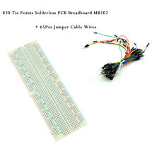 830 Tie Points Solderless PCB Breadboard MB102 + 65Pcs Jumper Cable Wires