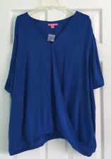 Woman Within Women's Plus Size 1X Blue Blouse Layered Shired Short Sleeve NWOT