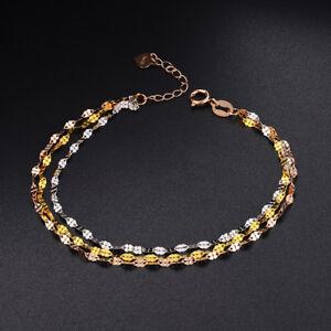 "New Pure 18K Multi-tone Gold Chain Fine Fashion Lip Link Woman's Bracelet 7.5""L"