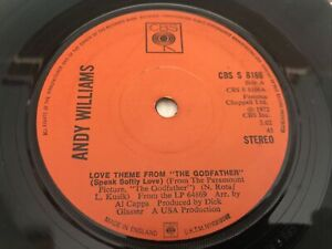 """Andy Williams - Love Theme From """"The Godfather"""" 7"""" Vinyl Single Record"""