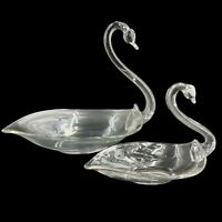 Pair of Vintage Hand Blown Art Glass Swan Bowl Centerpiece Candy Dish