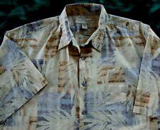 VTG Men's Tori Richard Hawaiian Aloha S/S Blue Brown Beige Lawn Shirt Large EUC