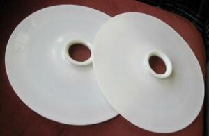 """Two Flat Disc Modern Age Industrial Milk Glass 14"""" Saucer Reflector Shades"""