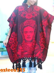Women's Soft Mexican Poncho Frida Kahlo One Size Fits Most