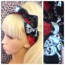 NEW BLACK SKULL RED ROSE PRINT BENDY WIRE WIRED FABRIC HAIR SCARF HEAD BAND BOW