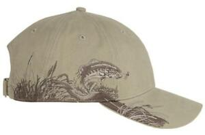 Dri Duck Trout Baseball Hat Structured 6 Panel Cap Pre-Curved Visor Hunting Sand