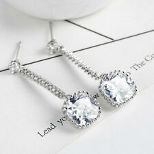 European Long Style Multi Natural White Fire Topaz Silver Stud Hook Earrings New