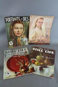 4 x WALTER T FOSTER Vintage Portraits Still Life Paper Instruction Art Book-EHB