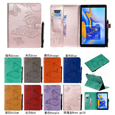 Embossing Cute Butterfly Wallet card holder Leather Case Skin Cover For Tablet