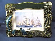 "Dolphins in the Surf 3 dimensional picture frame 4""x 6"" sealife decor"