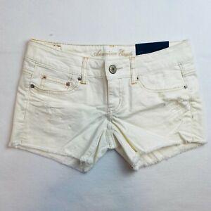 American Eagle Cream Shorts Cut Off Midi Factory Distressed Stretch Women 2 NWT