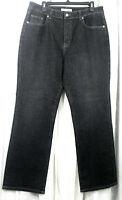 Chico's Size 2.5 Regular Jeans Black Denim Stretch Straight Leg Misses 14