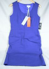 NWT PURE COLLECTION ROYAL BLUE SLEEVELESS TEXTURED COTTON SHIFT DRESS Size 12