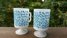 Vintage Antique Rare Milk Glass White Blue Floral Flower USA Coffee Cup Mug 8oz