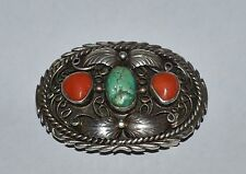 NAVAJO SIGNED B BEGAY STERLING SILVER TURQUOISE AND CORAL BELT BUCKLE