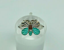 Vintage Native American Sterling Silver Gemstone Butterfly Ring Size N 1/2
