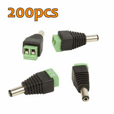 Lot 200pcs DC MALE POWER JACK CONNECTOR PLUG ADAPTER for CCTV SECURITY CAMERA
