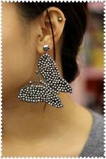 orecchini pizzi macrame grigio metallico pendenti artigianali strass punto luce