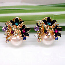 Navachi Black Enamel Pearl Flower 18K GP Colorful Crystal Omega Earrings BH1394
