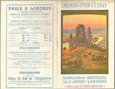 CHEMINS DE FER DE L' ETAT NORMANDIE BRETAGNE JERSEY LONDRES ETE 1913